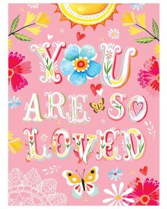 """""""You Are So Loved"""" Pink Floral Canvas Wall Art for Kids"""
