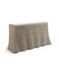 Florence Wicker Waves Scalloped Console Table in Greywash