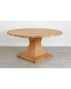 Handcrafted Reclaimed Wood Round Farmhouse Dining Table With Pedestal in Natural - BACKORDERED UNTIL MARCH 2021