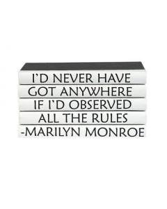 """""""I Would Never Have Got Anywhere If I Had Observed All The Rules"""" Four Volume Marilyn Monroe Quote Set of Decorative Books"""
