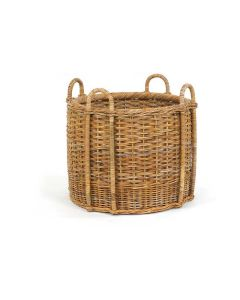 French Country Rattan Fireplace Storage Basket