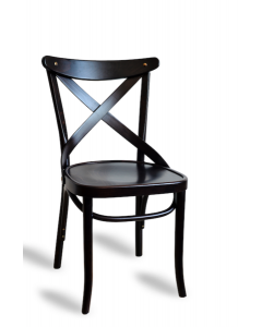 French X-Back Classic Parisian Cafe Dining Side Chair in Black