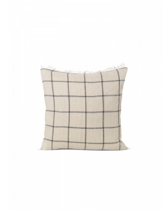 Fringed Natural and Black Checked Decorative Throw Pillow