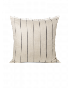Fringed Natural and Black Striped Decorative Throw Pillow