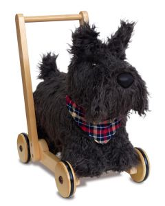 Fuzzy Scottie Dog Ride On Push Toy For Babies