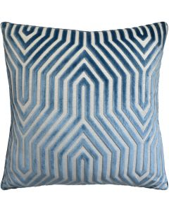 Geometric Design Velvet Square Decorative Pillow in Marine Blue – Available in Two Sizes