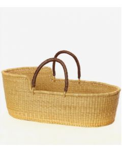 Ghanaian Natural Moses Basket with Leather Handles