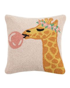 Giraffe with Bubble Gum Bubble 16 x 16 Decorative Throw Pillow - ON BACKORDER UNTIL JUNE 2021