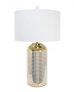 Gold and White Striped Table Lamp with White Linen Shade