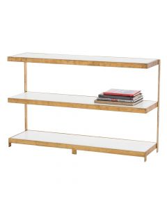 Arteriors Hattie Gold Leaf and Marble Console Table with Shelves