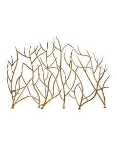 Gold Twig Hammered Iron Fireplace Screen