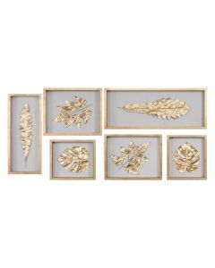 Set of 6 Silk Fabric Golden Leaves in Wooden Shadow Box Finished with Gold Leaf