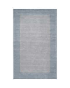 Gray and Aqua Hand Loomed Wool Rectangular Rug with Border, Available in a Variety of Sizes