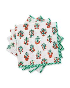 Green and Red Floral Delphi Napkin