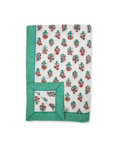 Green and Red Floral Delphi Tablecloth