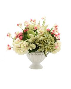 Faux Green and White Hydrangea Arrangement with White Vase