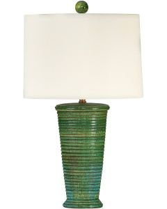 Green Grass Inspired Striped Textured Ceramic Table Lamp