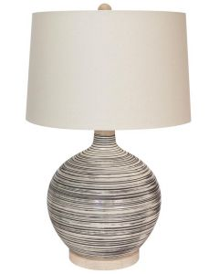 Grey and Beige Stripe Design Table Lamp with Shade