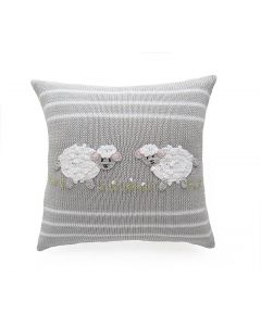 Grey Handmade Kids Pillow with Baby Sheep Design - ON BACKORDER UNTIL JANUARY 2021