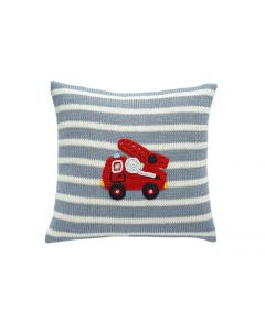 Grey & White Striped Handmade Kids Pillow with Fire Truck Design - ON BACKORDER UNTIL JANUARY 2021