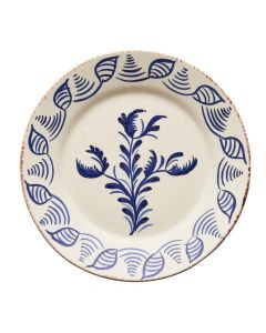 Hand Painted Blue & White Flowers and Shells Dinner Plate
