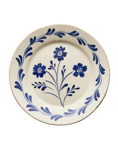 Hand Painted Blue & White Flowers and Vines Dinner Plate