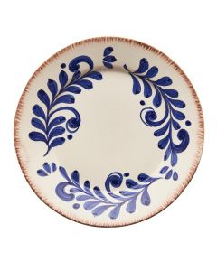 Hand Painted Blue & White Scroll Design Dinner Plate