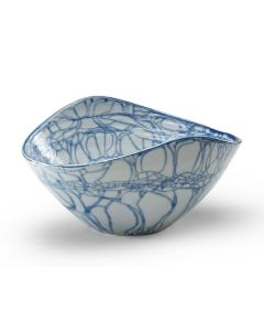 Hand Painted Decorative Oval Bowl with Blue Swirl Design
