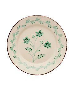 Hand Painted Green & White Flowers and Vines Dinner Plate