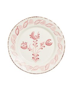 Hand Painted Pink & White Flowers and Shells Dinner Plate