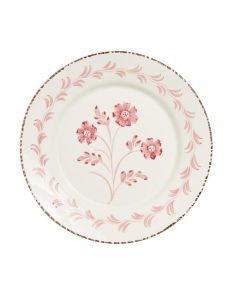 Hand Painted Pink & White Flowers and Vines Dinner Plate