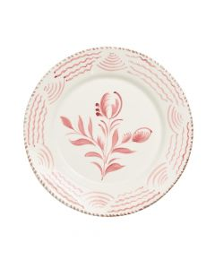 Hand Painted Pink & White Flowers and Waves Dinner Plate