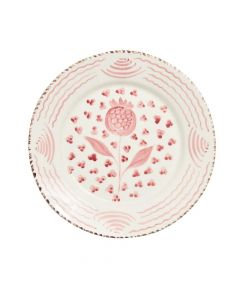 Hand Painted Pink & White Pomegranate Dinner Plate