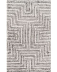 Hand Tufted Geometric Line Viscose Rug, Available in a Variety of Sizes