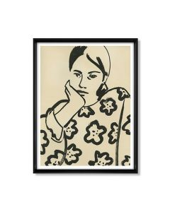 Hand in Chin Woman Floral Shirt Framed Wall Art