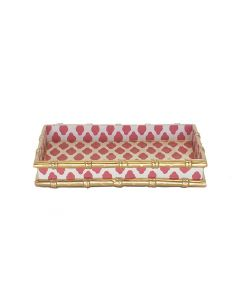 Hand Painted Bamboo in Parsi Pink Tole Letter Tray