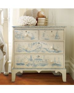 Hand Painted Cream Chest with Blue Toile Designs
