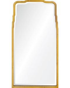 Hand Welded Iron Mirror in Distressed Gold Leaf with Beveled Center