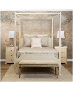 Handmade Antique Cream White Canopy Bed - Available in Queen or King Size