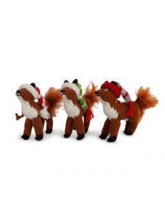 Set of 6 Handmade Foxes in Scarves Christmas Ornaments - LOW STOCK - CALL TO CONFIRM AVAILABILITY