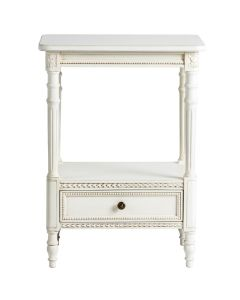 Handmade French Small Cream Two Shelf Wood Side Table with Drawer