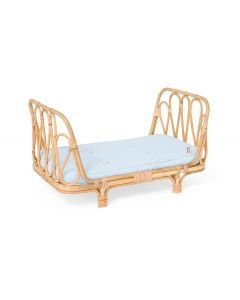 Handmade Rattan Doll Daybed With Blue Cushion for Kids