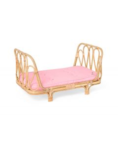 Handmade Rattan Doll Daybed With Pink Cushion for Kids - LOW STOCK