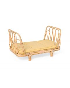 Handmade Rattan Doll Daybed With Yellow Cushion for Kids