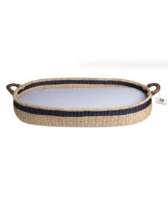 Handwoven Changing Basket with Black Stripe