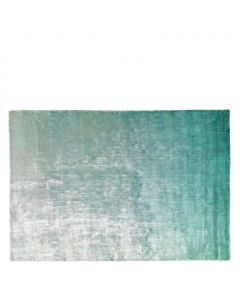 Aqua and Jade Ombre Hand Woven Velvety Sheen Area Rug - Variety of Sizes Available