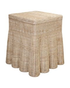 Harvested Rattan Scalloped Square Side Table - Available in a Variety of Colors
