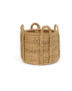 Harvested Rattan Wicker Storage Basket with Handles