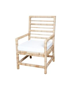 Harvested Rattan Wicker Nautical Inspired Armchair with Cushion - Available in a Variety of Colors and Fabrics