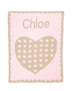 Personalized Metallic Heart on Heart Stroller Blanket - Variety of Colors Available
